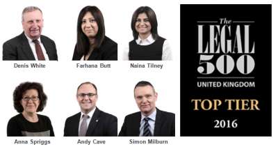 Solicitors recommended in the top tier in the Legal 500 UK 2016
